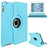 Apple iPad 2/3/4 Case - 360 Degree Rotating Stand Smart Case Cover for iPad with Retina Display (iPad 4th Generation), the iPad 3 & iPad 2 (Automatic Wake/Sleep Feature),(iPad 2/3/4 only)Blue