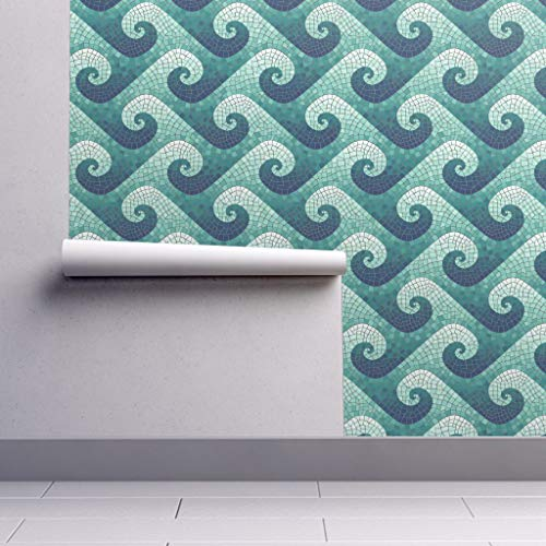 Removable Water-Activated Wallpaper - Wave Mosaic Mosaic Waves Tiles Water Wave Mosaic Blue Teal Geometric Tiles by Weavingmajor - 24in x 144in Smooth Textured Water-Activated Wallpaper Roll ()