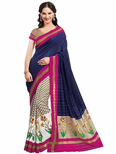 Janasya women's multicolor Bhagalpuri silk printed saree (JNE0619.N)