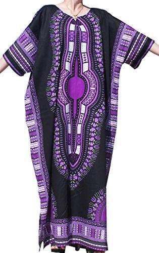Women's Purple Long Dashiki Dress (RaanPahMuang Brand Full One Piece Long Afrikan Black Dashiki Sac Dress, Large, Black Purple)