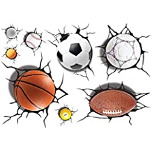 3D Self-adhesive Removable All Star Sports Ball Broken Wall Decoration Murals Art Decals Decorator