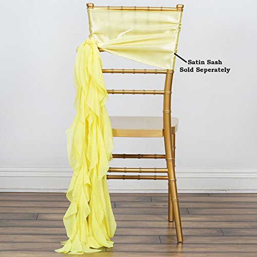 BalsaCircle 10 Yellow Curly Chiffon Chair Sashes Bows Ties - Wedding Party Ceremony Reception Decorations Cheap Supplies Wholesale