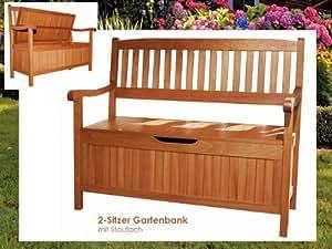 Garden Pleasure Houston - Banco de madera con arcón para jardín (2 plazas)