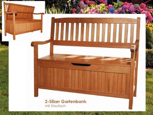 Truhenbank HOUSTON Holz Gartenbank mit Staufach 2-Sitzer Bank Sitzbank Gartenmöbel