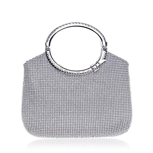 Leather Beaded Bag Shoulder (RISUP Clutch Evening Bag, Giltter Beaded Flap Clutch Evening Handbag Purse (Silver))