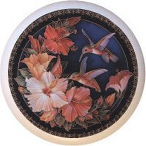 Hummingbird Haven Bird Decorative Glossy Ceramic Drawer Pull Knob - Haven Drawer