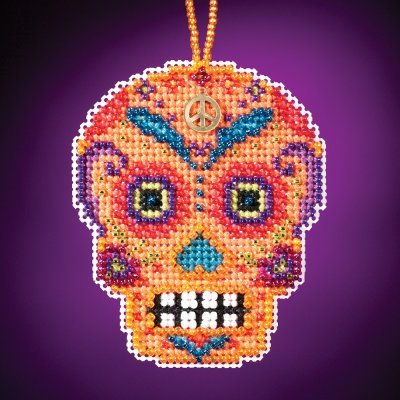 Naranja Beaded Cross Stitch Halloween Kit 2016 Mill Hill Calavera Charmed Ornaments MH161623]()