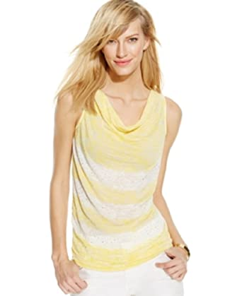 2216a82af7907 Image Unavailable. Image not available for. Color  International Concepts  Sleeveless Striped Cowl-Neck Top ...