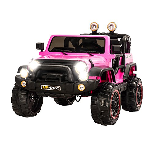 Uenjoy Jeeps Ride on Cars 12V Children's Electric Cars with Remote Control Head Lights Model HP-002 Pink