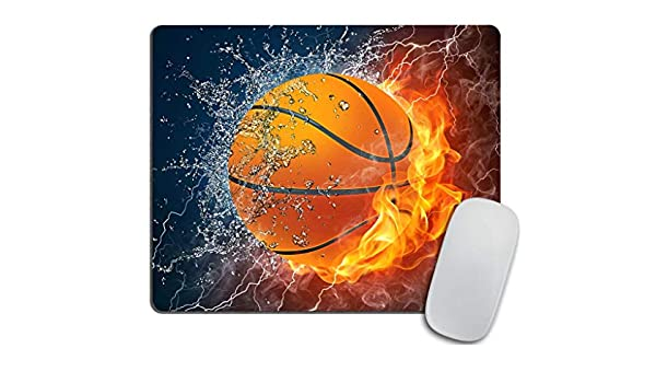 Gaming Mouse Pad Custom, Pelota de Baloncesto en Fuego y Agua ...