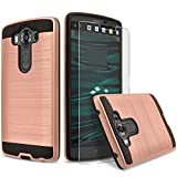 LG V10 Case, 2-Piece Style Hybrid Shockproof Hard Case Cover + Circle(TM) Stylus Touch Screen Pen And Screen Protector - Rose Gold