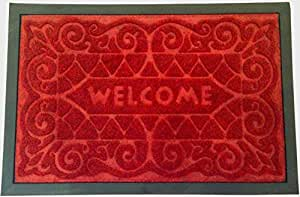 Sage Select 23 1/2-Inch– by-15 3/4-Inch Welcome Mat with Scrape Dirt and Grass - Textured Grip Bottom, Red
