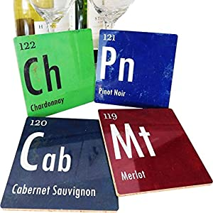 Coasters By COASTER LABS Set of 4 pieces: Wine Periodic Table - Merlot, Chardonnay, Pinot Noir, Cabernet Sauvignon - Cork for Counter, Sofa/ Coffee Table - Cool Novelty Gift Accessories