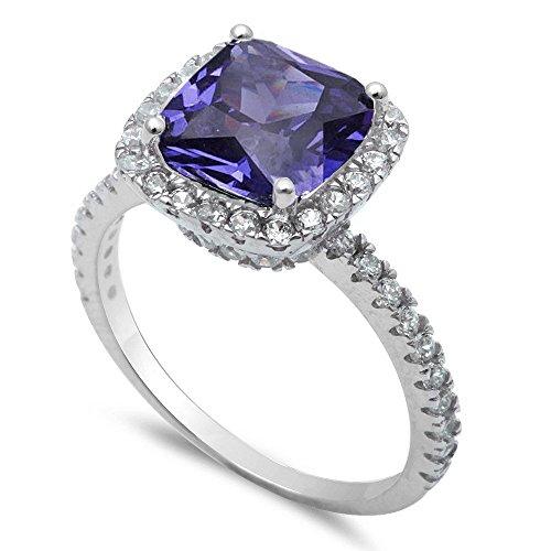 Oxford Diamond Co Cushion Cut Simulated Tanzanite CZ .925 Sterling Silver Ring Size 8
