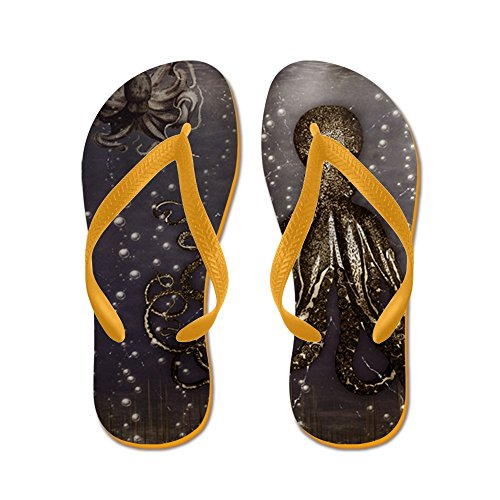 CafePress Octopus Lair - Old Photo - Flip Flops, Funny Thong Sandals, Beach Sandals Orange