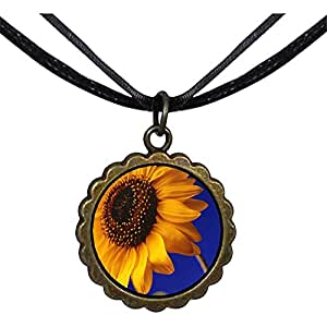 Chicforest Bronze Retro Style Yellow SunRound Flower Pendant