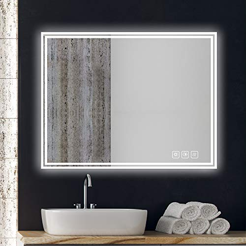 SL4U 36x28 Inch LED Bathroom Mirror, Anti-Fog Wall Mounted Vanity Mirror with -