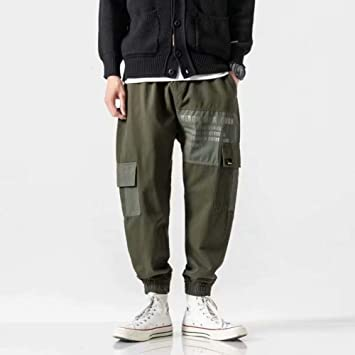 HNRLSL Pantalones Streetwear Multi Pocekts Bloque de Color ...