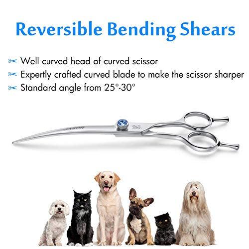 """JASON 7"""" Curved Dog Grooming Scissors, Ergonomic Pets Cats Trimming Shears with Offset Handle and a Jewelled Screw for Right Handed Groomers, Sharp, Comfortable, Light-weight"""