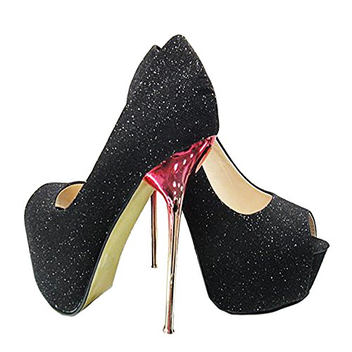 Peep Sexy Heel Super toe Wedding Shoes 37 black High Thin UxFBq