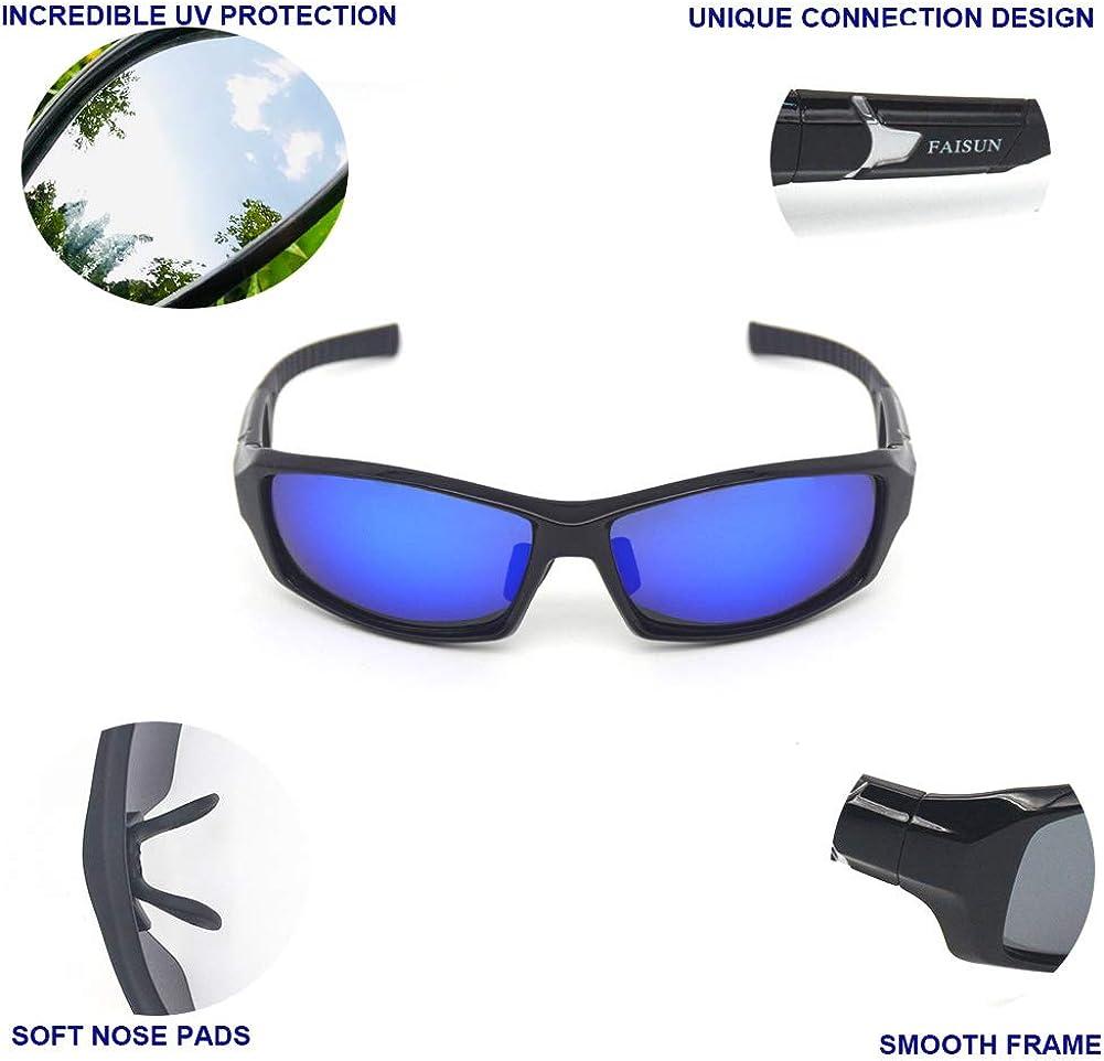 FAISUN Polarized Sports Sunglasses for Women Men Fishing Cycling Running Shooting Beach Tennis or outdoor activities
