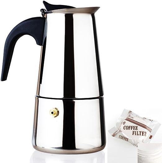 Moka Express - Cafetera italiana Siduo CM0001 (2017, diseño mejorado) para cafeteras de café de grado alimenticio, incluye 2 tazas, 4 tazas, 6 tazas, 9 tazas para café molido, café ecológico, café cubano: Amazon.es: Hogar