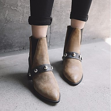 Office Career For Chunky Spring Booties amp; Heel Fashion Ankle Toe Rivet Shoes Brown Boots Women's Boots Leatherette Pointed Winter Boots Casual gHTZECW