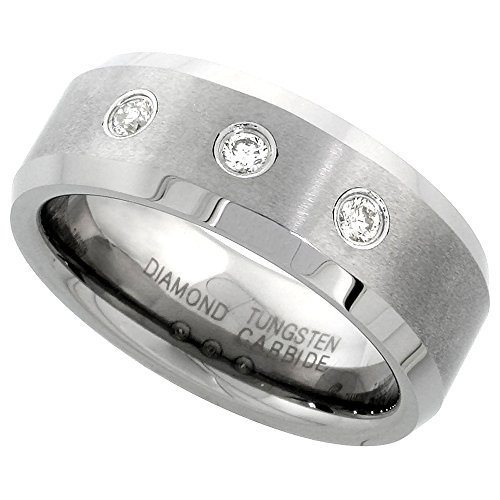 8mm Tungsten 900 3 Stone Diamond Wedding Ring 0.22 cttw Beveled Edges Comfort fit, size 9 - 3 Stone Half Bezel