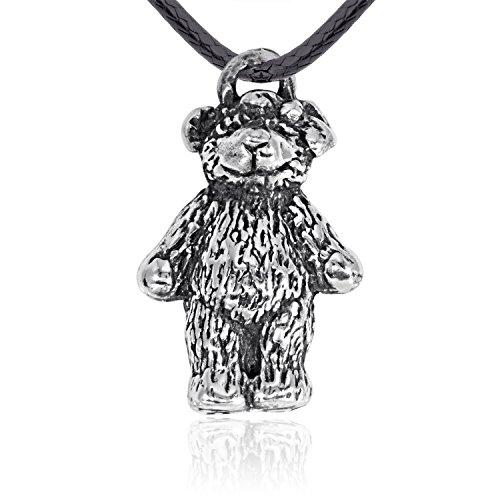 Dan's Jewelers Cute Cuddly Teddy Bear Necklace Pendant, Fine Pewter (Pewter Teddy Bears)