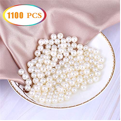 1100 Pcs Round Faux Pearl Beads with Hole for Jewelry Making,Plastic Ivory White Pearls Loose Spacer Bead,Brushes Holder,Table Scatter,Party Decor,6mm ()