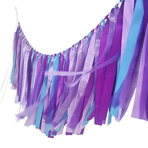 AZOWA Mermaid Tassel Garland Cotton Ribbon Banner for Mermaid Party Decorations Baby Shower Party Backdrops Nursery Photo Props (Mermaid (40''X 14'')) -