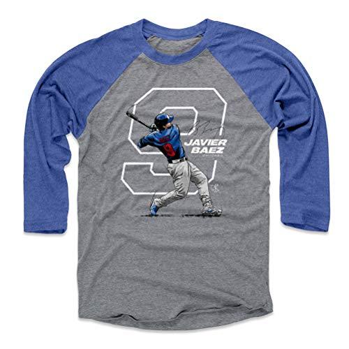 500 LEVEL Javier Baez Baseball Tee Shirt (Large, Royal/Heather Gray) - Chicago Baseball Raglan Tee - Javier Baez Number W WHT