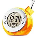 Sekway Water Powered Digital Desk Clock with Temperature Thermometer Alarm Orange