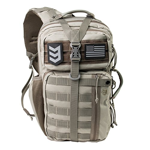 Outlaw II Tactical Gear Slinger Sling Pack, Over Shoulder Day Pack/Survival Sling Bag with MOLLE/Outdoor, Survival, Get Home Bag (Black, Grey, Tan, OD) ()