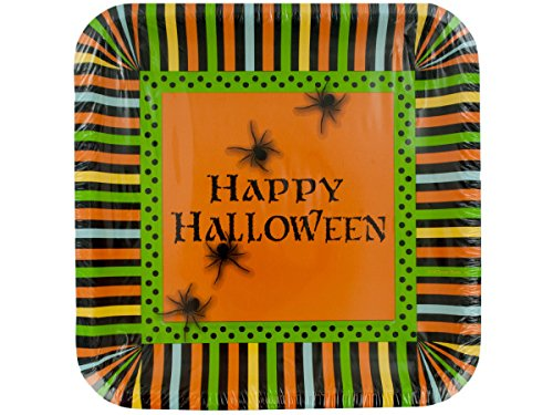 8-Count Square Paper Dinner Plates, Halloween Spooky