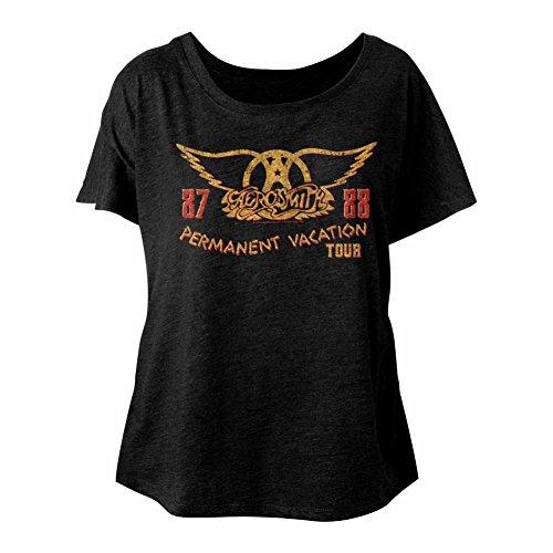 Tee Tour Classics shirt Permanent Femme Slouchy American 1987 Vacances Ladies Pour Aerosmith 1988 Groupe De Rock 4n7qw