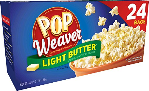 Pop Weaver Microwave Popcorn, Light Butter Flavor, 24/Pack (Light Flavor Butter)