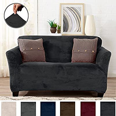 Form Fit, Slip Resistant, Stylish Furniture Shield / Protector Featuring Velvet Plush Fabric. Gale Collection Strapless Slipcover by Great Bay Home Brand.