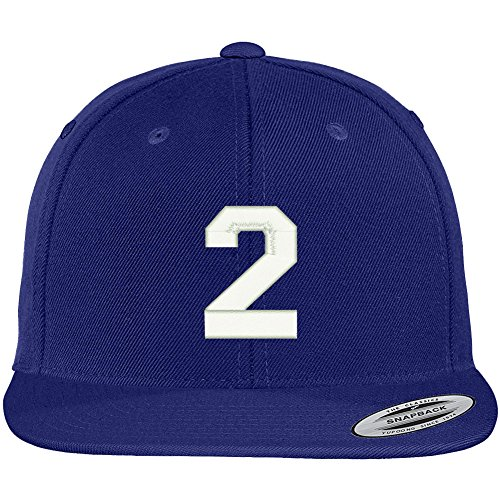 (Trendy Apparel Shop Number 2 Collegiate Varsity Font Embroidered Flat Bill Snapback Cap - Royal)