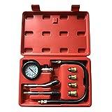 SUNROAD Professional Cylinder Compression Tester Kit 0-300 PSI Pressure Tester Gauge Set with Red Case