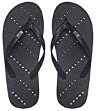 Showaflops Mens' Antimicrobial Shower & Water Sandals for Pool, Beach, Dorm and Gym - Black 11/12
