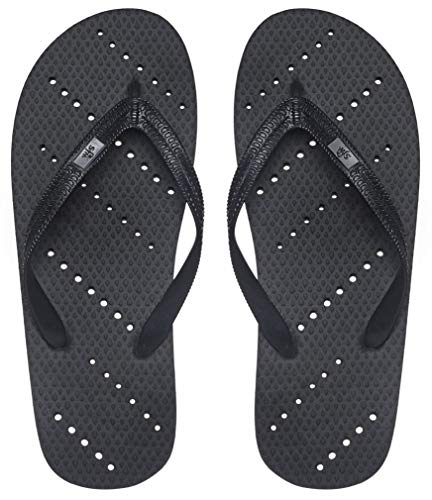 Showaflops Mens' Antimicrobial Shower & Water Sandals for Pool, Beach, Dorm and Gym - Black 9/10 -