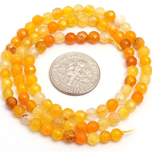 JOE FOREMAN 4mm Yellow Agate Semi Precious Stone Round Faceted Loose Beads for Jewelry Making DIY Handmade Craft Supplies 15