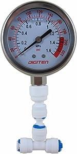 "DIGITEN Water Pressure Gauge Meter 0-1.6MPa 0-220psi 1/4"" f Reverse Osmosis System Pump"