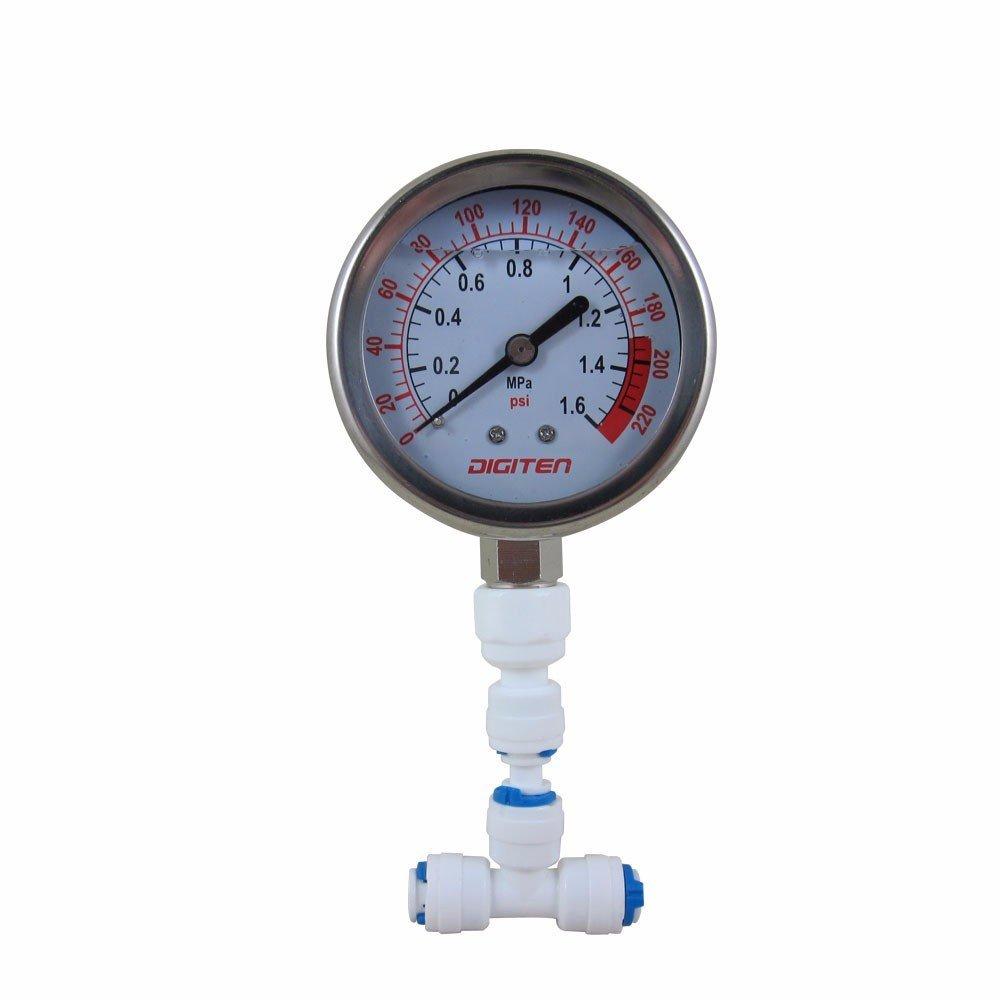 DIGITEN Water Pressure Gauge Meter 0-1.6MPa 0-220psi 1/4'' f Reverse Osmosis System Pump