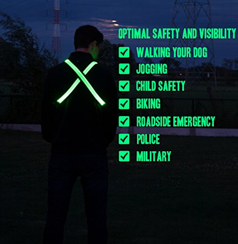 LED Reflective Belt – USB Rechargeable – High Visibility Gear for Running, Walking Cycling – Fits Women, Men Kids – Fully Adjustable Lightweight – Safer Than a Reflective Vest – Green, Red, Blue