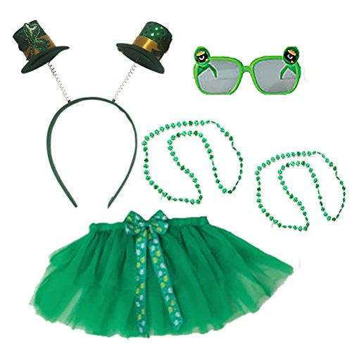 St Patricks Day Costume Set Kids Party Accessory Kit Irish Headband Bopper Head Wear Costume Green Bead Necklace Tutu Sunglasses Pack for Childs Parade or (Irish Costumes For Kids)