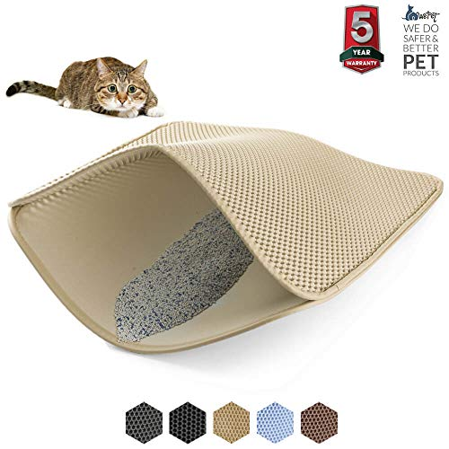 WePet Original Cat Litter mat Large Kitty Litter Box Trapping Sifting Mats Waterproof Urine Repellent for Keep Floor/Carpet Clean Best for Grumpy Cat Large (Beige) Large    ()
