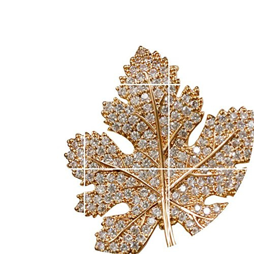 Mosaic Brooch Pin (TKHNE Elegant and chic men's temperament Maple Leaf micro mosaic brooch pin badge pin brooch pin badge suit accessories suit boys and girls gifts)