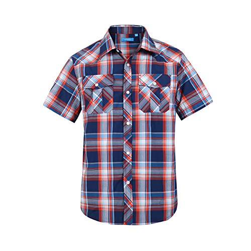 Boy's Casual Short Sleeve Snap Plaid Button Down Shirt (#15 Red & Blue, 16)